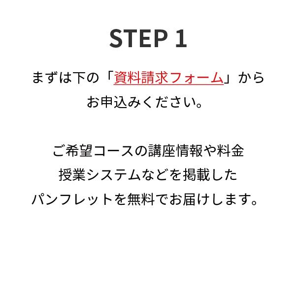 STEP1,まずは下の「資料請求フォーム」からお申込みください。ご希望コースの講座情報や料金授業システムなどを掲載したパンフレットを無料でお届けします。