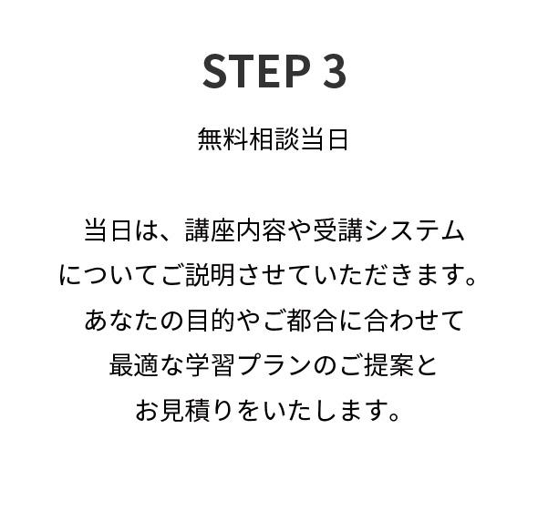 STEP3,無料相談当日当日は、講座内容や受講システムについてご説明させていただきます。あなたの目的やご都合に合わせて最適な学習プランのご提案とお見積りをいたします。